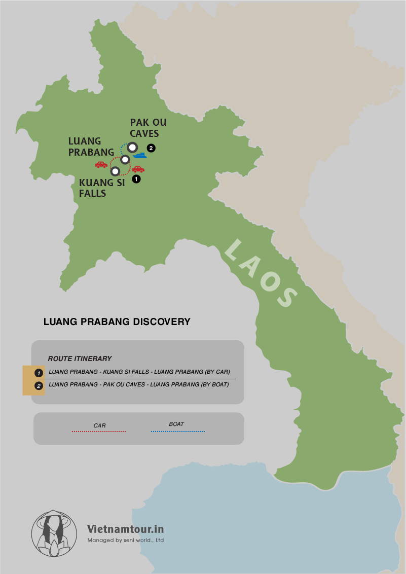 Luang Prabang Discovery Tour Package from India in 6 days map