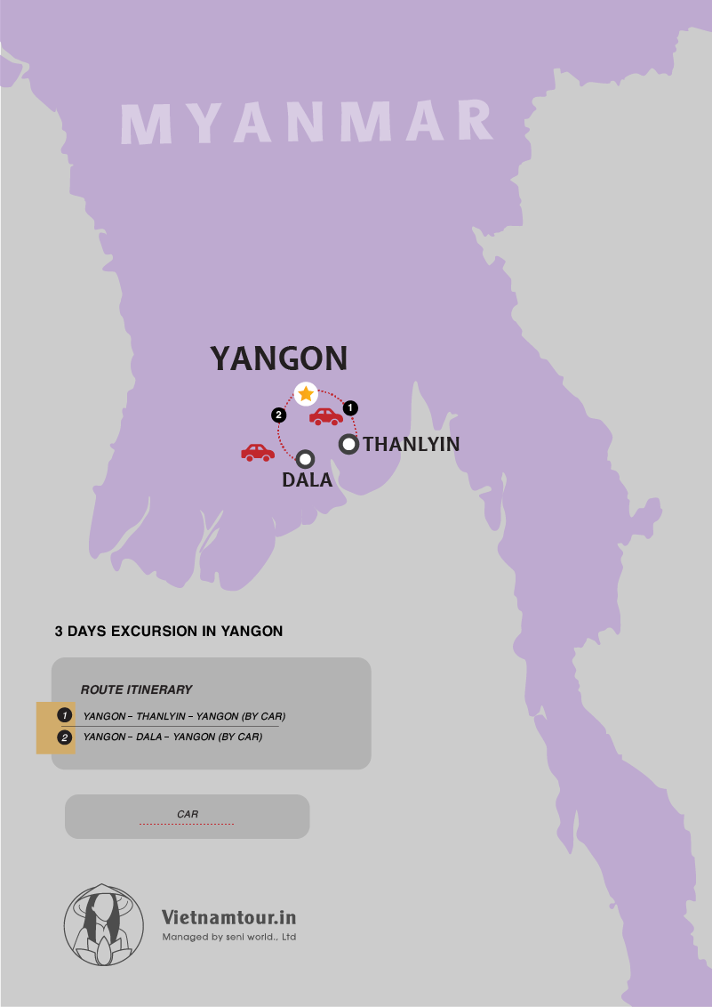 [3 DAYS] Yangon Excursion Tour Package for Indian Travelers map