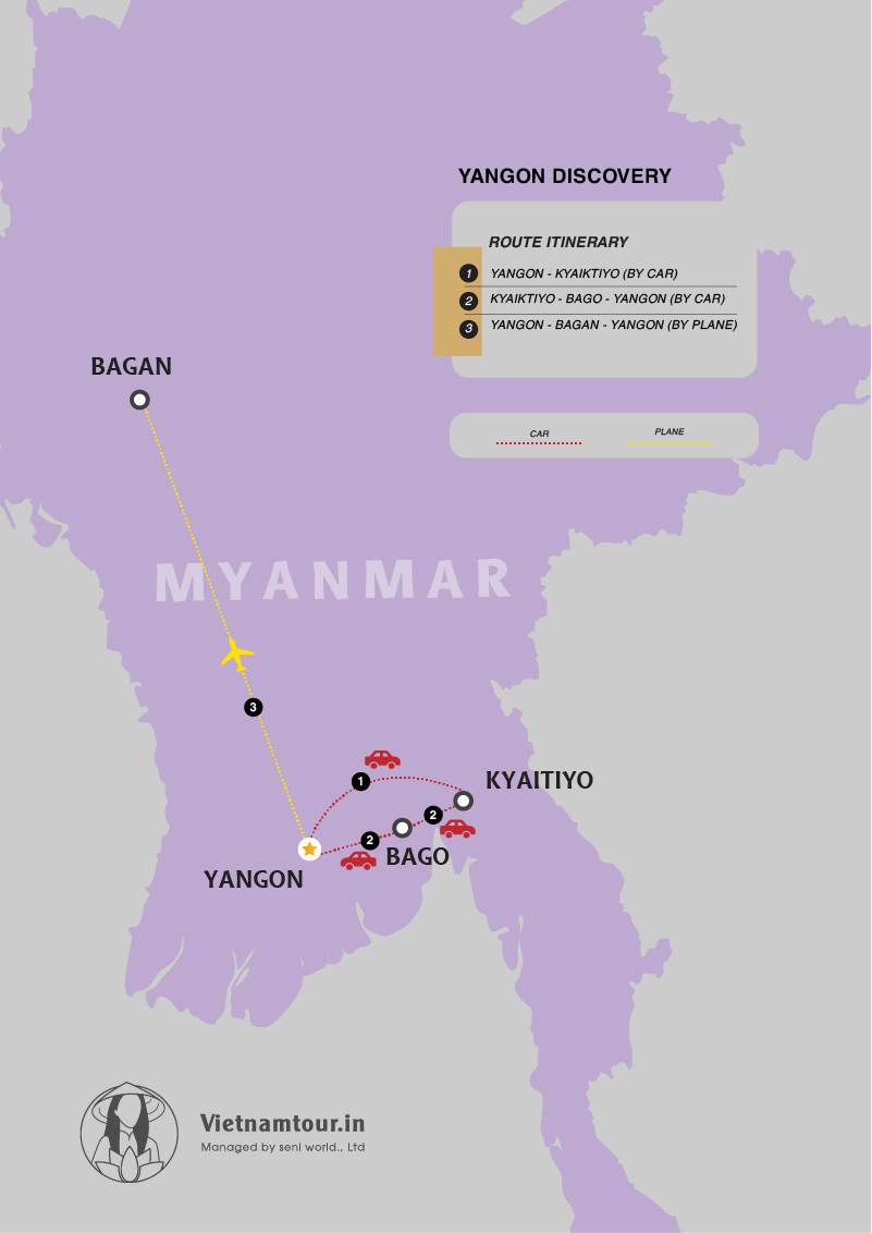 India to Yangon Discovery Tour Package in 4 days map
