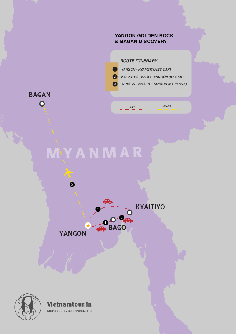 [5 DAYS] India to Yangon Golden Rock and Bagan Package map