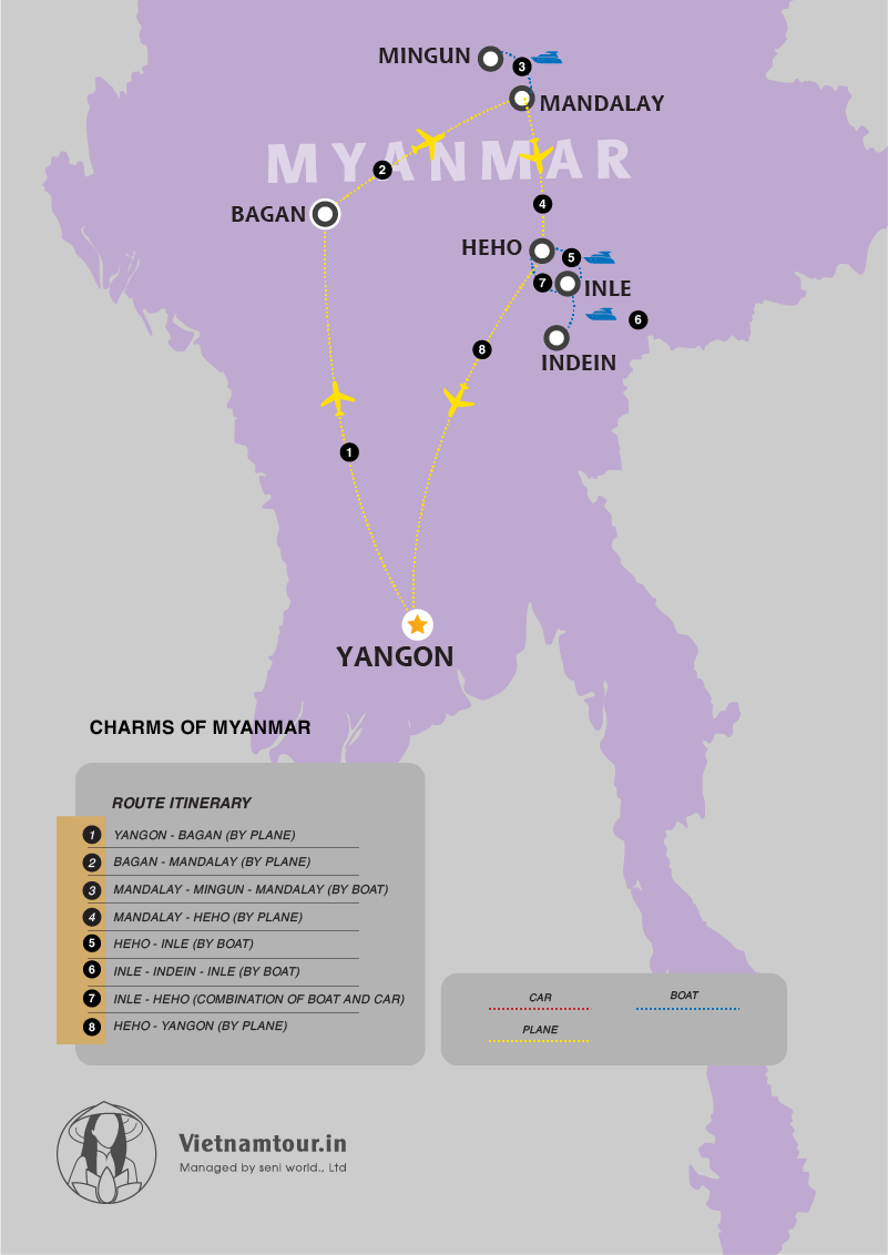Charms of Myamar Tour Package in 8 Days from India map