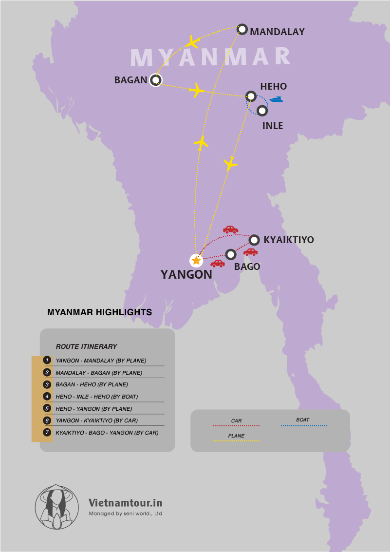 [8 DAYS] Highlights of Myanmar Tour Package from India map
