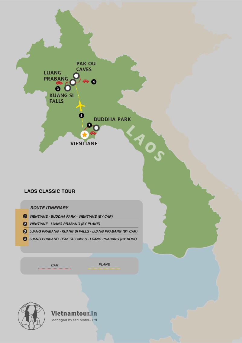 3 Days of Laos Classic Tour Packages from India itinerary map