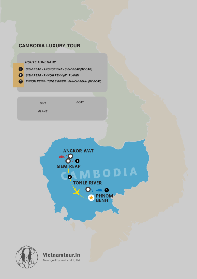 cambodia luxury tour 5 days map